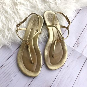 Tory Burch Emmy Flat Thong Sandals gold